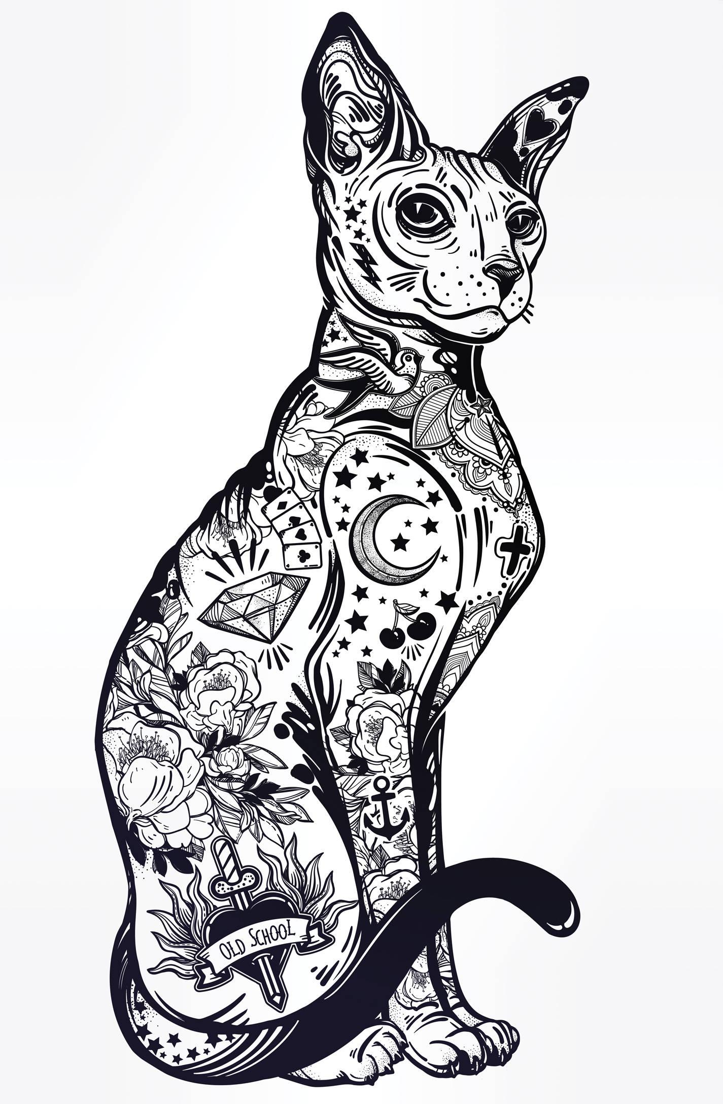 Sphynx Cat, Hairless Cat, Flash Tattoo Art, Tattoo Art, Hipster, Home