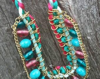 Glass beaded Bohemian Bib style necklace