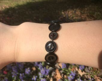 Black Stretchy Button Bracelet