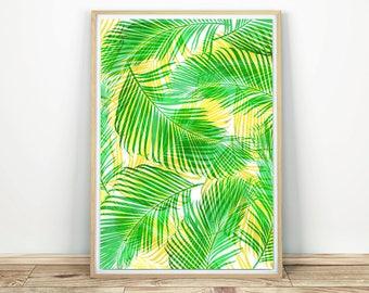 Palm Leaf Print - Printable Art, Palm Leaves Poster, Tropical Wall Art, Leaf Poster, Printable Wall Art, Palm Leaf Wall Decor, Boho Decor