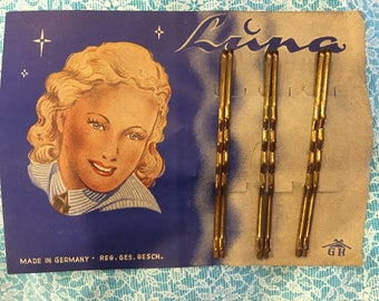 Full Card of Luna Bobby Pins - Vintage 1930's Hairpins - New Old Stock - Gold Hairpins - Six on a Card - Made in Germany - Vintage Bathroom