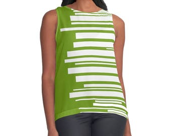 Shirt, Top, Retro, Stripes, Girlfriend Gift, Tank Top, Blouse, Gift for Her, Tank, Print, Womens Gift, White, Green, For Her
