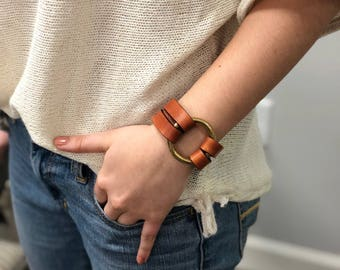Brass Ring Leather Bracelet - Leather Bracelet with Brass Ring -  British Tan color
