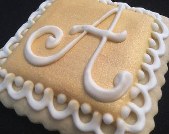 Gold initial Baptism cookie favors |  Custom decorated baby Christening cookies | Mini  gold squares | Monogram | Lace border