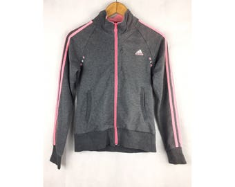 ADIDAS CLIMA 365 Long Sleeve Sweater Pink Line with Small Embroiled Logo Fully Zipper Small Size Sweater