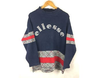 ELLESSE Long Sleeve Sweatshirt With Big Spell Out Embroidered Logo Large Size Jaspo L Multi Colour Design