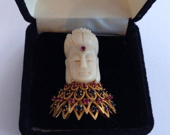 18K Yellow Gold Coral Buddha Pin Brooch Pendant with Rubies and Sapphires Vintage