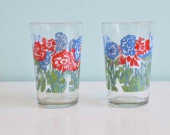 Vintage Glass Juice Cup/ Tumbler, Vintage Glassware, Vintage Floral Glass, bar ware, kitchen ware