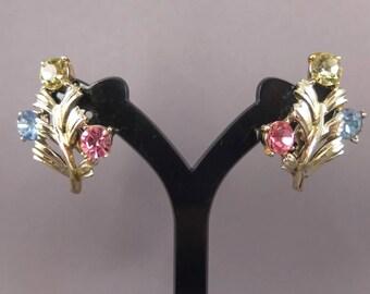 Vintage Rhinestone Clip On Earrings - Pale Gold Tone Clip On Earrings With Rhinestones, Vintage Jewelcraft Earrings, Costume Jewellery