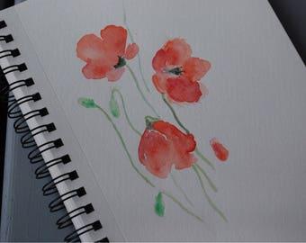 Watercolour Poppy Print