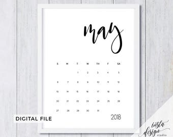 May 2018 printable pregnancy baby announcement calendar social media flat lay photo prop due date save the date digital file download