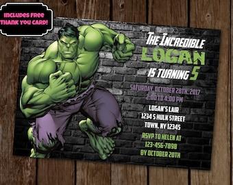 The Hulk Birthday Invitation, The Incredible Hulk Invitation, Avengers Invitation, Avengers Birthday Party, Superhero Birthday