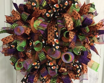Halloween Candy Corn Deco Mesh