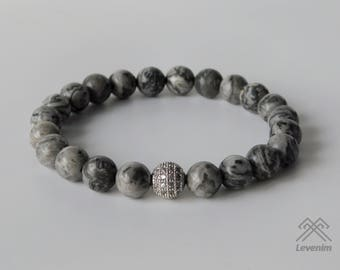 Landscape Jasper bracelet - Landscape beads - Mens bracelet - Beaded bracelet - Jasper bracelet