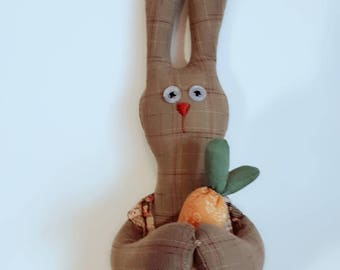 BingBing Bunny with carrot, Easter Bunny, Interior doll, handmade doll, fabric doll, soft toy, OOAK doll, Bunny doll
