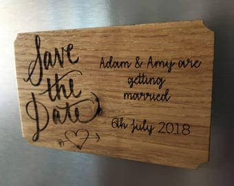 Save the Date Wooden Fridge Magnet, Personalised and made from Beautiful British Oak (Hand Finished).