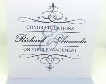 Personalised Handmade Engagement Card - Sparkly Classic Flourish