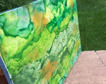 Wall Decor- Green Decorated Canvas