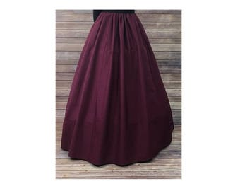 Skirt and Sash - Renaissance Civil War Victorian Southern Belle LARP Cosplay Dickensonian Pioneer - burgundy red - dress costume