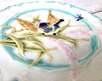 Vintage barbotine plate / Art Nouveau / decor with bird leaves and dragonfly / majolica / white and blue vintage plate / 1900s