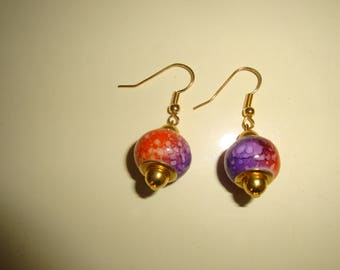 earring two-tone marbled purple and orange