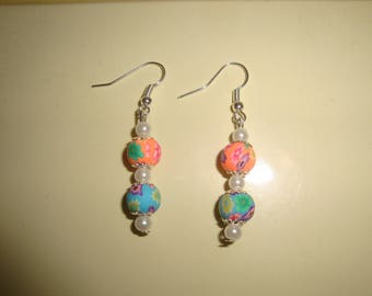 dangle earring Pearl floral pastel color polymer