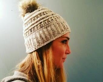 Katniss Beanie | Winter | Hat | Crochet | Fur pom pom | Women's Hats | Handmade