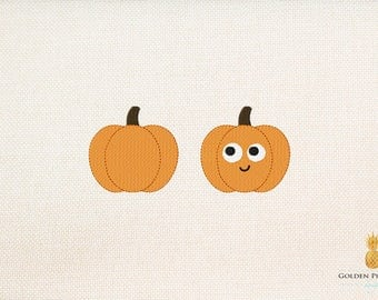 Pumpkin - pumpkin with face - mini embroidery - small embroidery - instant download machine embroidery design