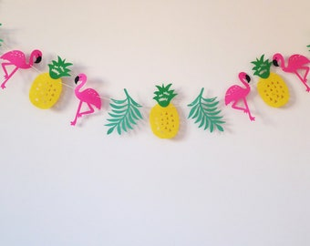 Tropical garland, pineapple, flamingo, leaf banner, tropical summer baby shower, birthday party, nursery decors