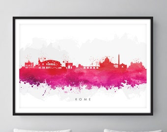 Rome Skyline, Rome Italy Cityscape Art Print, Wall Art, Watercolor, Watercolour Art Decor