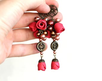 "Pink earrings with flowers of polymer clay, polymer clay earrings, cluster earrings ""Anabelle"""