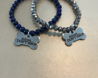 Adopt Dont Shop rescue Pit Bull Pitbull dog puppy crystal beaded bracelet