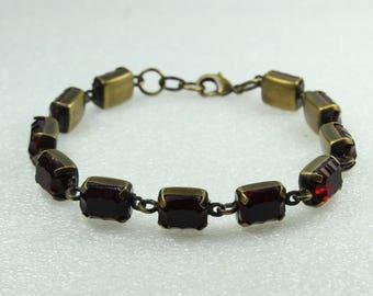 Boho Style Red Czech Crystal Brass Bracelet