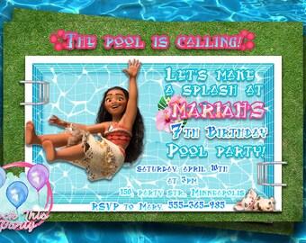 DISNEY MOANA pool party INVITATION,Moana birthday party invite,digital download,personalized Moana birthday party,Oceania party supplies