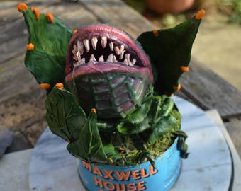 OOAK Hand sculpted Full scale Audrey 2 in original Coffee Tin (Little Shop of Horrors)