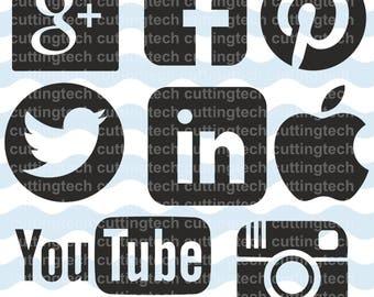 Social media svg files- social icons digital download vector files - social clip art- Sign Cut - cricut- svg, png, cdr, eps