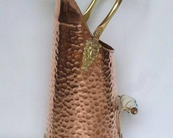 Antique umbrella stand copper and brass / home decor / hammered copper pitcher / Home Decor / copper and brass / copper Pot.