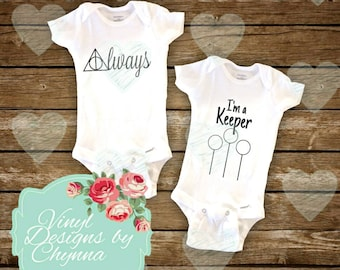 Harry Potter infant bodysuits SET OF 2 Always I'm A Keeper Quidditch unisex baby clothes baby shower gift newborn hospital outfit