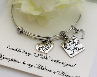 MATRON OF HONOR Proposal, Matron of Honor Bracelet , Will you be My Matron of Honor, Adjustable Stainless steel Expandable Bracelet