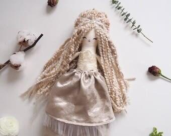 Handmade doll heirloom doll classic doll rag doll cloth doll girl gift daughter gift curly hair doll