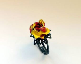 Origami Paper Rose Ring - Japanese Origami -washi paper- Origami Paper Flower- Anniversary gift-Origami jewellery-Christmas
