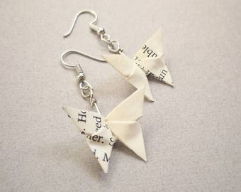 Origami Butterfly Earrings-Japanese Washi- Book Paper Earrings-Dangle& Drop earrings-Origami Jewellery-Anniversary