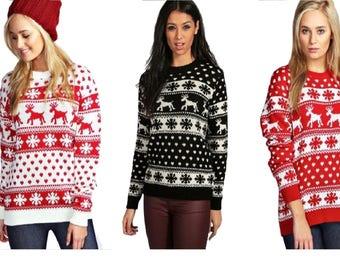 Womens Christmas Jumper Ladies Reindeer And Snowflake Knitted Xmas Jumper Top