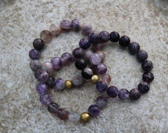 Smooth Round Light/Dark Purple Beaded Elastic Bracelets