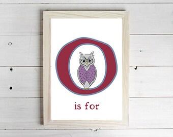 O is for Owl Alphabet Print - Unframed Art Print, Owl Drawing, Nursery Picture, Animal Wall Art, Children's Decor, Kid's Bedroom