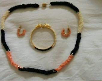 Coral necklace, earrings and bangle set
