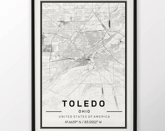 Toledo City Map Print Modern Contemporary poster in sizes 50x70 fit for Ikea frame 19.5 x 27.5 All city available London New York Paris