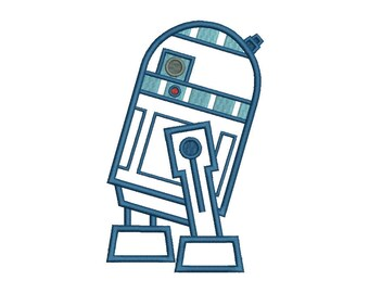 R2D2 Applique Embroidery Design - 5 SIZES