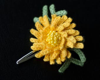 Yellow flower Chrysanthemum hair clip-unique girls hair decorasions-sale-Hair accessories-Handmade-crochet flower.