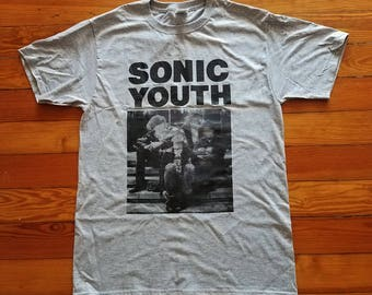 Sonic Youth Silkscreened Shirt (Black on Grey)